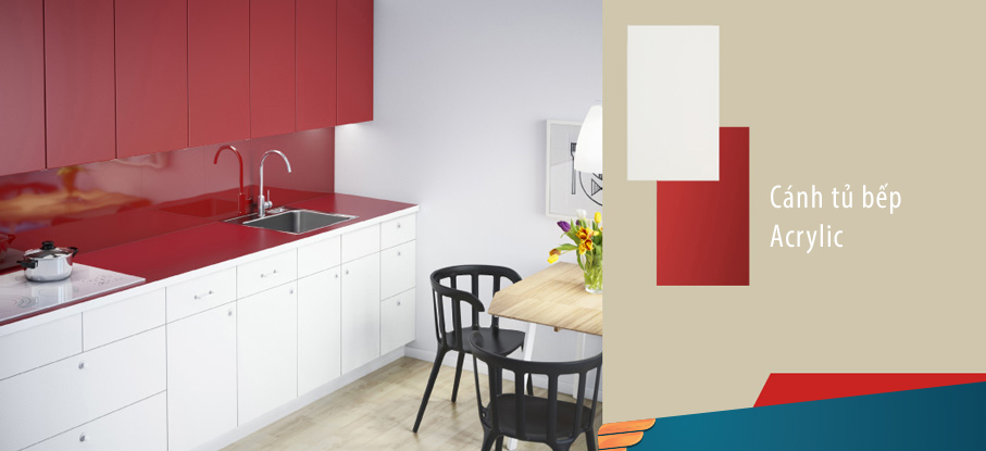 Màu sắc của tủ bếp Acrylic
